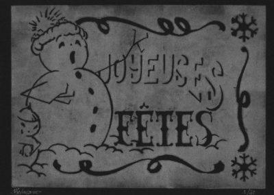 photo noir et blanc de l'estampe bonshommes de neige gravée sur lino et imprimée à la main. Chaque impression est unique et numérotée.
