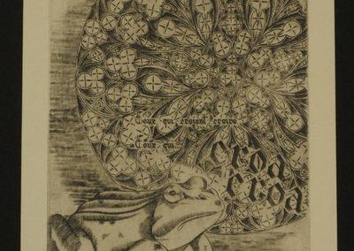 Estampe la grenouille. Gravure sur cuivre d'après une phrase du dîner de têtes de Jaques Prévert. Gravée et imprimée à la main. Chaque impression est unique et numérotée.
