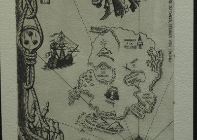 Estampe resprésentant une carte au trésor en forme de crâne, avec une bordure de cordages faisant penser à la piraterie.