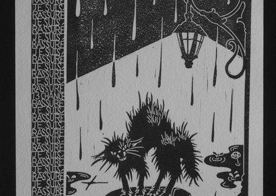 """estampe représentant un chat noir hérissé, accompagné du texte """"tout va bien, je suis rassuré"""" sur tout le bord gauche et supérieur."""