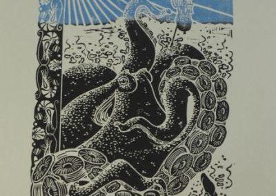 """Estampe """"les vacances à la mer"""", représentant un poulpe géant, genre craken, avec une bordure de fruits de mers."""