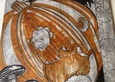 étape de fabrication d'une estampe: dessin sur la plaque de lino.