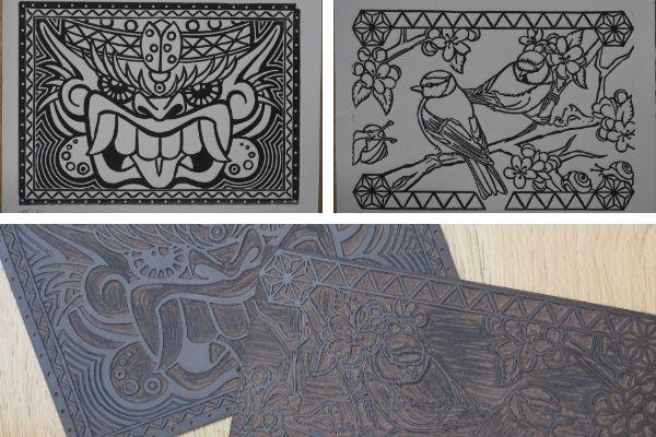 Cartes à colorier,linogravures, imprimées à la main.